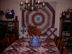 Awesome quilts in Sandy's dining room