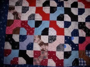 This is the quilt top Sandy mentioned that was hand quilted by the group in Colorado